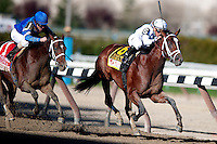 Gemologist ridden by Javier Castellano outlasts Alpha ridden by Ramon Dominguez to win the 88th running of the Wood memorial at Aqueduct race track in Ozone Park NY, on April 7, 2012