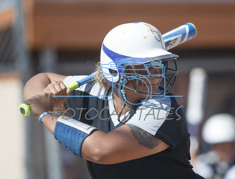 Western Nevada's Briauna Carter hits against Colorado North Western at Edmonds Sports Complex Carson City, Nev., on Friday, March 18, 2016.<br /> Photo by Jeff Mulvihill, Jr.