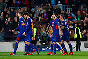 5th December 2017, Camp Nou, Barcelona, Spain; UEFA Champions League football, FC Barcelona versus Sporting Lisbon; Paco Alcacer of FC Barcelona celebrates his goal for 1-0