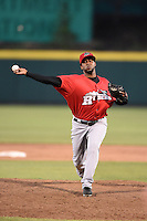 Frisco Rough Riders pitcher Francisco Mendoza (27) delivers a pitch during a game against the Springfield Cardinals on June 1, 2014 at Hammons Field in Springfield, Missouri.  Springfield defeated Frisco 3-2.  (Mike Janes/Four Seam Images)