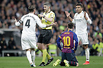 Referee Undiano Mallenci shows yellow card to Real Madrid CF's Sergio Ramos during La Liga match. March 02,2019. (ALTERPHOTOS/Alconada)