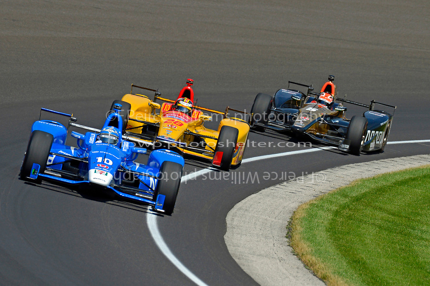 Verizon IndyCar Series<br /> Indianapolis 500 Carb Day<br /> Indianapolis Motor Speedway, Indianapolis, IN USA<br /> Friday 26 May 2017<br /> Tony Kanaan, Chip Ganassi Racing Teams Honda, Ryan Hunter-Reay, Andretti Autosport Honda, James Hinchcliffe, Schmidt Peterson Motorsports Honda<br /> World Copyright: F. Peirce Williams