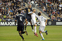 Andrew Jacobson (8) of the Philadelphia Union and David Beckham (23) of the Los Angeles Galaxy go up for a header. The Los Angeles Galaxy defeated the Philadelphia Union  1-0 during a Major League Soccer (MLS) match at PPL Park in Chester, PA, on October 07, 2010.