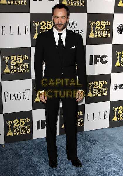 TOM FORD .25th Annual Film Independent Spirit Awards held At The Nokia LA Live, Los Angeles, California, USA,.March 5th, 2010 ..arrivals Indie Spirit full length black suit tie beard facial hair stubble white shirt  .CAP/ADM/KB.©Kevan Brooks/Admedia/Capital Pictures