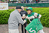 Pedro Nazario shaking hands with Larry E. Rabold after  winning aboard Delonix at Delaware Park on 5/25/13.
