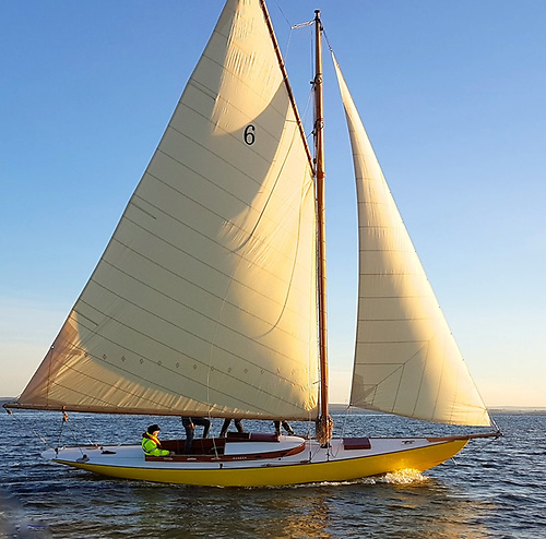 The re-built Naneen has her first sail in 33 years in the special sunshine of early December on the Shannon Estuary