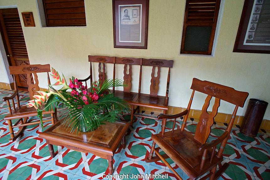 Seating area outside a guest room, Hotel Hacienda Uxmal near the Mayan ruins of Uxmal, Yucatan, Mexico.