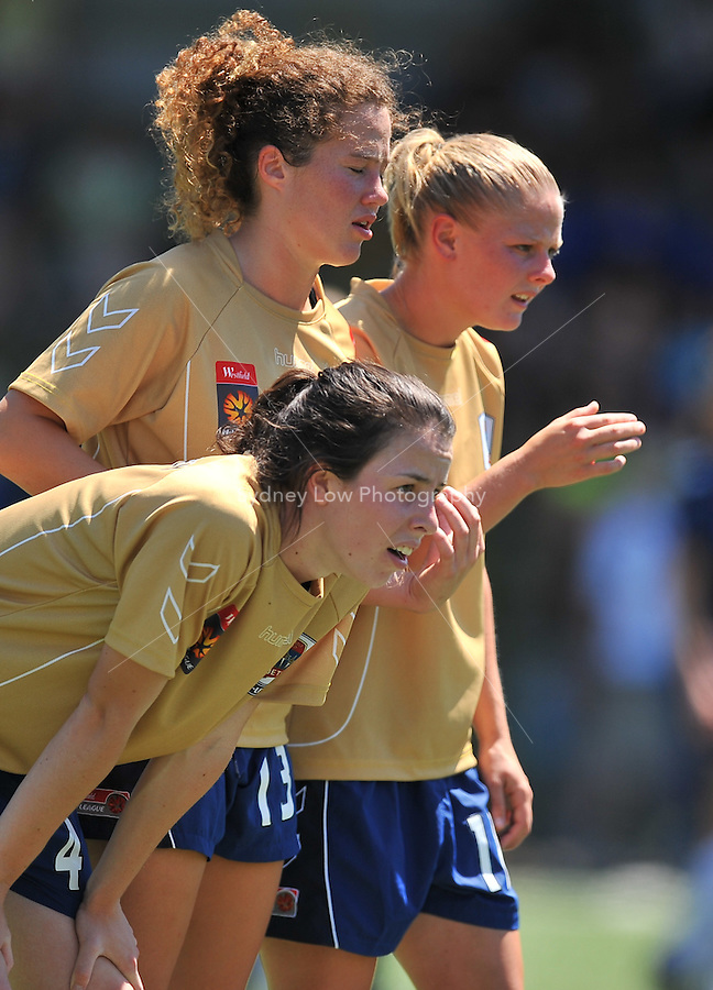 MELBOURNE, AUSTRALIA - OCTOBER 31: Loren MAHONEY from Newcastle prepares to defend a free kick in round 5 of the Westfield W-league match between Melbourne Victory and Newcastle Jets at the Veneto Club on October 31, 2009 in Melbourne, Australia. Photo Sydney Low www.syd-low.com
