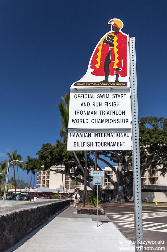 Official swim start & run finish Ironman trathlon world championship sign in Kailua, Big Island, Hawaii