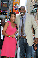 NEW YORK CITY, NY - August 20, 2012: Robin Roberts and NY Knicks' Amar'e Stoudemire at Good Morning America in New York City. &copy; RW/MediaPunch Inc. /NortePhoto.com<br />