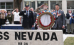 From left center, Bud Southard, president of the Navy League, veteran Charles Sehe and Gov. Brian Sandoval lay a wreath at the state memorial during the USS Nevada Centennial Ceremony at the Capitol in Carson City, Nev., on Friday, March 11, 2016.<br />