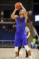 Washington, DC - December 22, 2018: Hampton Pirates guard Akim Mitchell (25) sets to shoot the ball during the DC Hoops Fest between Hampton and Howard at  Entertainment and Sports Arena in Washington, DC.   (Photo by Elliott Brown/Media Images International)