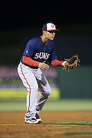 Hagerstown Suns third baseman Austin Davidson (6) on defense against the Kannapolis Intimidators at Kannapolis Intimidators Stadium on May 4, 2016 in Kannapolis, North Carolina.  The Intimidators defeated the Suns 7-4.  (Brian Westerholt/Four Seam Images)