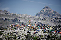 crowds up the rocks of the Col de Soudet (HC/1610m/15.3km/7.4%) waiting for the riders to come up<br /> <br /> stage 10: Tarbes - La Pierre-Saint-Martin (167km)<br /> 2015 Tour de France