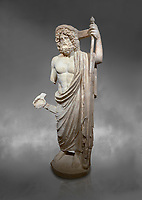 Roman statue of Asclepius. Marble. Perge. 2nd century AD. Inv no .Antalya Archaeology Museum; Turkey.  Against a grey background<br /> <br /> Asclepius was a hero and god of medicine in ancient Greek religion and mythology. Asclepius represents the healing aspect of the medical arts, one of his his daughters is Hygieia
