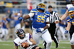 BROOKINGS, SD - NOVEMBER 16: Thomas Stacker #55 of the South Dakota State Jackrabbits celebrates a sack on Will McElvain #13 of the Northern Iowa Panthers during their game Saturday afternoon at Dana J. Dykhouse Stadium in Brookings, SD. (Photo by Dave Eggen/Inertia)