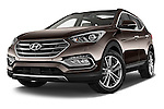 Stock pictures of low aggressive front three quarter view of 2016 Hyundai Santa-Fe Executive 5 Door Suv Low Aggressive