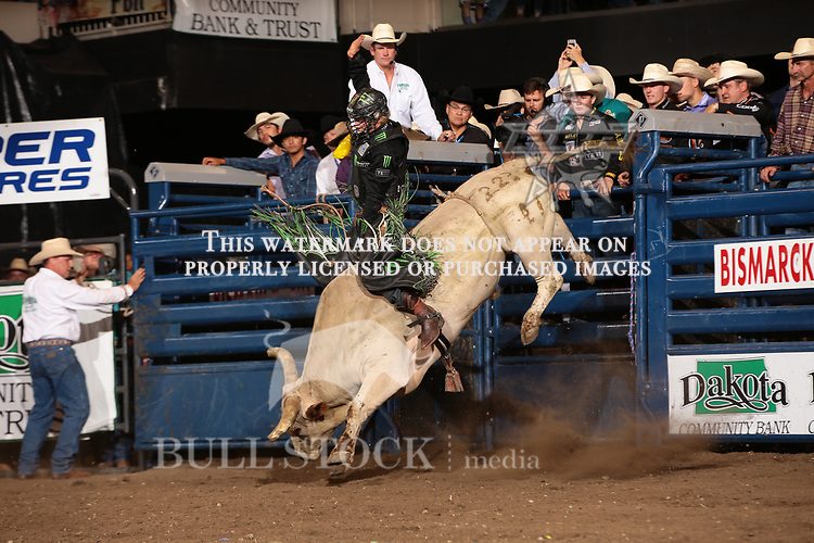 Derek Kolbaba rides Dakota Rodeo/Chad Berger/Clay Struve/H&C Bucking Bulls's BC Circular Insanity for 89 during the Championship round of the Bismarck Real Time Pain Relief Velocity tour PBR. Photo by Andy Watson