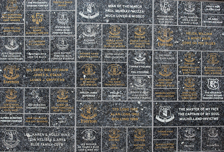 Remembrance plaques on a wall outside Goodison Park, home of Everton FC<br /> <br /> Photographer Stephen White/CameraSport<br /> <br /> Football - Barclays Premiership - Everton v Burnley - Saturday 18th April 2015 - Goodison Park - Everton<br /> <br /> &copy; CameraSport - 43 Linden Ave. Countesthorpe. Leicester. England. LE8 5PG - Tel: +44 (0) 116 277 4147 - admin@camerasport.com - www.camerasport.com