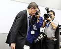 October 27, 2017, Tokyo, Japan -  Japanese automaker Subaru president Yasuyuki Yoshinaga leaves a press conference as he apologizes for the company has been carrying out flawed inspections of their vehicles at the Subaru headquarters in Tokyo on Friday, October 27, 2017.    (Photo by Yoshio Tsunoda/AFLO) LWX -ytd-