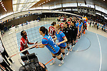 Rüsselsheim, Germany, April 13: Hand shake between the VC Wiesbaden and the Rote Raben Vilsbiburg after play off Game 1 in the best of three series in the semifinal of the DVL (Deutsche Volleyball-Bundesliga Damen) season 2013/2014 between the VC Wiesbaden and the Rote Raben Vilsbiburg on April 13, 2014 at Grosssporthalle in Rüsselsheim, Germany. Final score 0:3 (Photo by Dirk Markgraf / www.265-images.com) *** Local caption ***