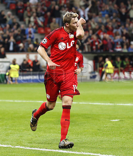 27.08.2014. Leverkusen, Germany. UEFA Champions League qualification match. Bayer Leverkusen versus FC Copenhagen. Leverkusens Stefan Kiessling celebrates scoring the goal for 3:0 against Copenhagens goalkeeper Stephan Andersen