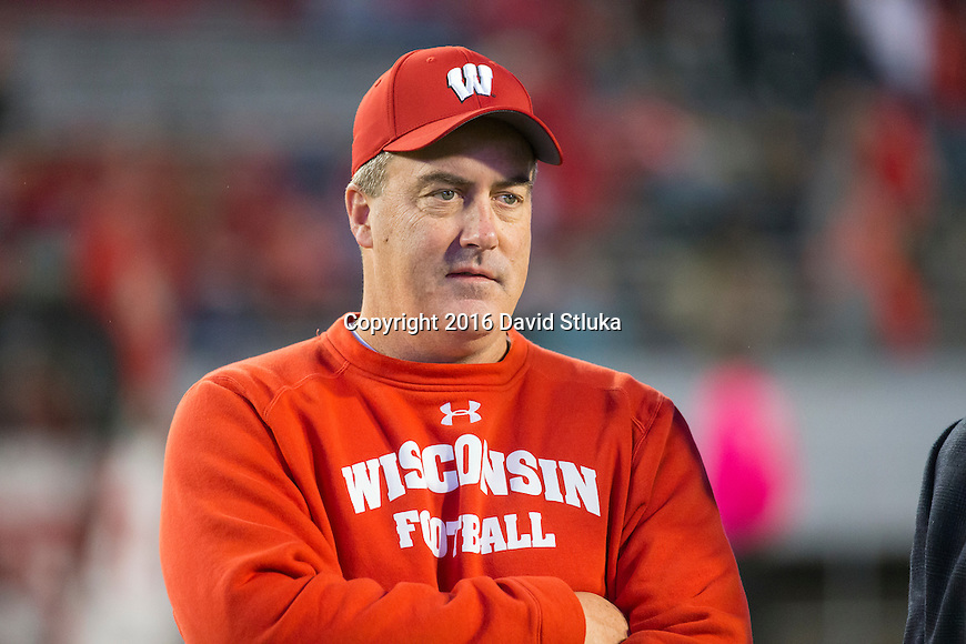 Wisconsin Badgers Head Coach Paul Chryst looks on during warmups prior to an NCAA Big Ten Conference college football game against the Ohio State Buckeyes Saturday, October 15, 2016, in Madison, Wis. The Buckeyes won 30-23 in overtime. (Photo by David Stluka)