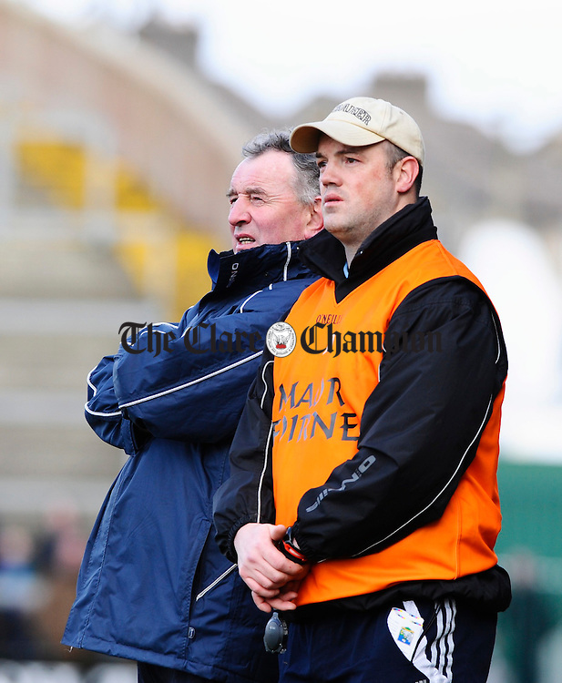 Mike McNamara and Ollie Baker  look on from the sideline. Photograph by John Kelly.