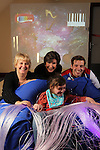 Official opening of the sensory room at  Crug Glas School in Swansea sponsored by BT and the Lord Taverners...Welsh Paralympian Nathan Stephens who opened the sensory room alongside Ann Beynon, BT Wales and Chrissie Colbeck from the Lord Taverners with pupil Robyn Smith. .05.12.12..©Steve Pope