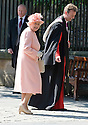 HER MAJESTY QUEEN ELIZABETH II ARRIVES AT CANONGATE KIRK IN EDINBURGH FOR THE WEDDING OF ZARA PHILLIPS TO MIKE TINDALL