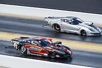 Sep 18, 2016; Concord, NC, USA; NHRA pro mod driver Kevin Rivenbark (near) races alongside Bob Rahaim during the Carolina Nationals at zMax Dragway. Mandatory Credit: Mark J. Rebilas-USA TODAY Sports