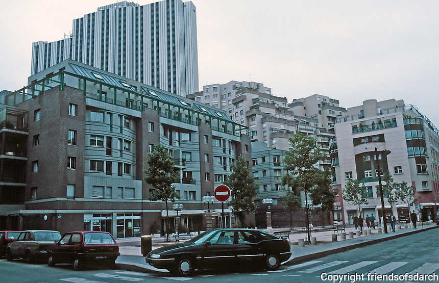 Paris: Zone d'Action Concertee, 14th ARR. Place. Constantine Brancusi, left, apartment by Antoine Grumbach. Center and right by Jean-Claude Bernard. Photo '90.