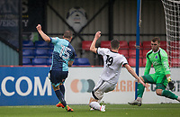 Dayle Southwell of Wycombe Wanderers is denied by Goalkeeper Mark Smith of Aldershot Town in the dying moments during the pre season friendly match between Aldershot Town and Wycombe Wanderers at the EBB Stadium, Aldershot, England on 22 July 2017. Photo by Andy Rowland.