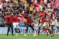 Charlton players and staff celebrate at the final whistle during Charlton Athletic vs Sunderland AFC, Sky Bet EFL League 1 Play-Off Final Football at Wembley Stadium on 26th May 2019