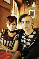 "A couple pose  at cafe Bizarro in Colonia Roma which is frequented by ""Darkies"" or ""Goths"", Mexico City August 28, 2005"