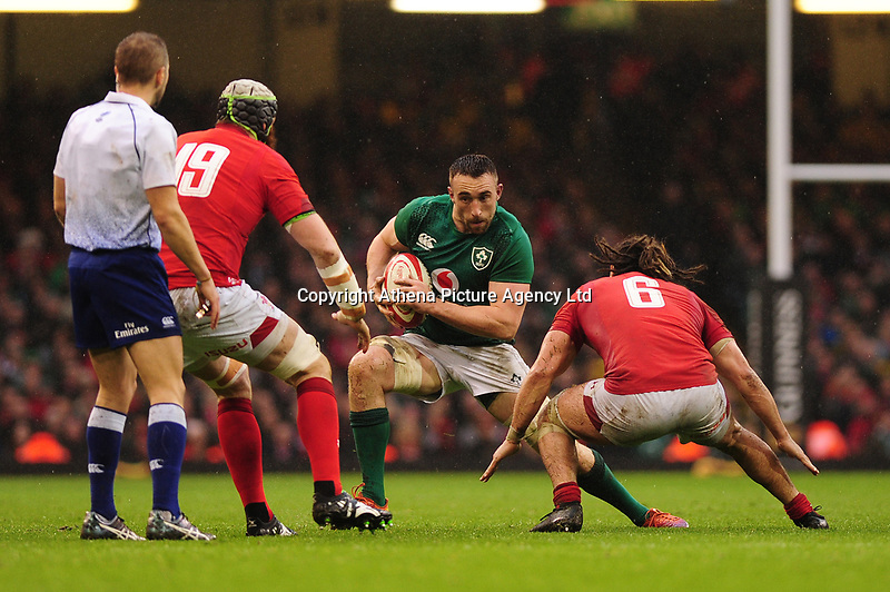Pictured: Jack Conan of Ireland in action during the Guinness six nations match between Wales and Ireland at the Principality Stadium, Cardiff, Wales, UK.<br /> Saturday 16 March 2019