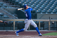 Travis Jones (24), of the Kansas City Royals, follows through on his swing during an Instructional League game against the Arizona Diamondbacks at Chase Field on October 14, 2017 in Scottsdale, Arizona. (Zachary Lucy/Four Seam Images)
