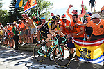 Steven Kruijswijk (NED) LottoNL-Jumbo climbs Alpe d'Huez 4'16&quot; ahead during Stage 12 of the 2018 Tour de France running 175.5km from Bourg-Saint-Maurice les Arcs to Alpe D'Huez, France. 19th July 2018. <br /> Picture: ASO/Alex Broadway | Cyclefile<br /> All photos usage must carry mandatory copyright credit (&copy; Cyclefile | ASO/Alex Broadway)