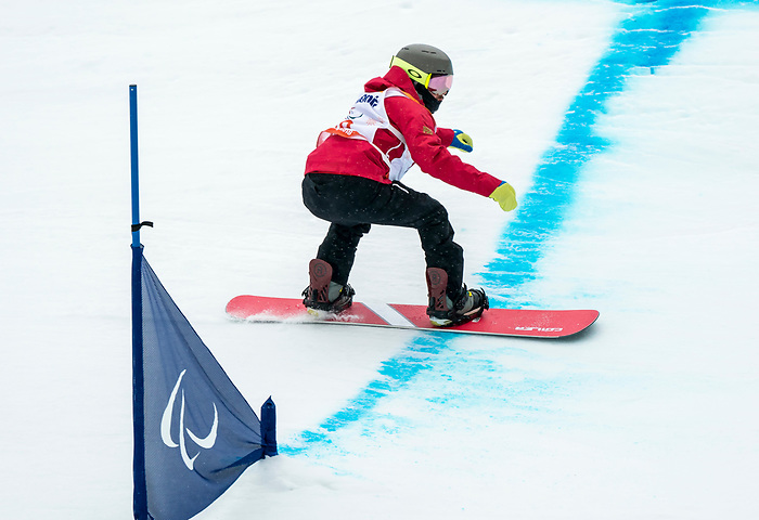 PyeongChang 16/3/2018 - Colton Liddle during the snowboard banked slalom at the Jeongseon Alpine Centre during the 2018 Winter Paralympic Games in Pyeongchang, Korea. Photo: Dave Holland/Canadian Paralympic Committee