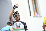 Italian National Champion Fabio Aru (ITA) UAE Team Emirates at sign on before the start of Stage 15 of the 2018 Giro d'Italia, running 156km from Tolmezzo to Sappada, Italy. 20th May 2018.<br /> Picture: LaPresse/Fabio Ferrari | Cyclefile<br /> <br /> <br /> All photos usage must carry mandatory copyright credit (&copy; Cyclefile | LaPresse/Fabio Ferrari)