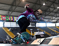 BOGOTA - COLOMBIA - 13 - 08 - 2017: Mateo Vahos, Skater de Colombia, durante competencia en el Primer Campeonato Panamericano de Skateboarding, que se realiza en el Palacio de los Deportes en la Ciudad de Bogota. / Mateo Vahos, Skater from Colombia, during a competitions in the First Pan American Championship of Skateboarding, that takes place in the Palace of Sports in the City of Bogota. Photo: VizzorImage / Luis Ramirez / Staff.