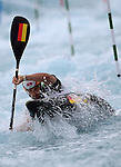 LONDON, ENGLAND - JULY 29:  Hannes Aigner of Germany competes in the Men's Kayak Slalom Prelims during Day 3 of the London 2012 Olympic Games on July 29, 2012 at the Lee Valley White Water Center Center in Hertfordshire, England. (Photo by Donald Miralle)