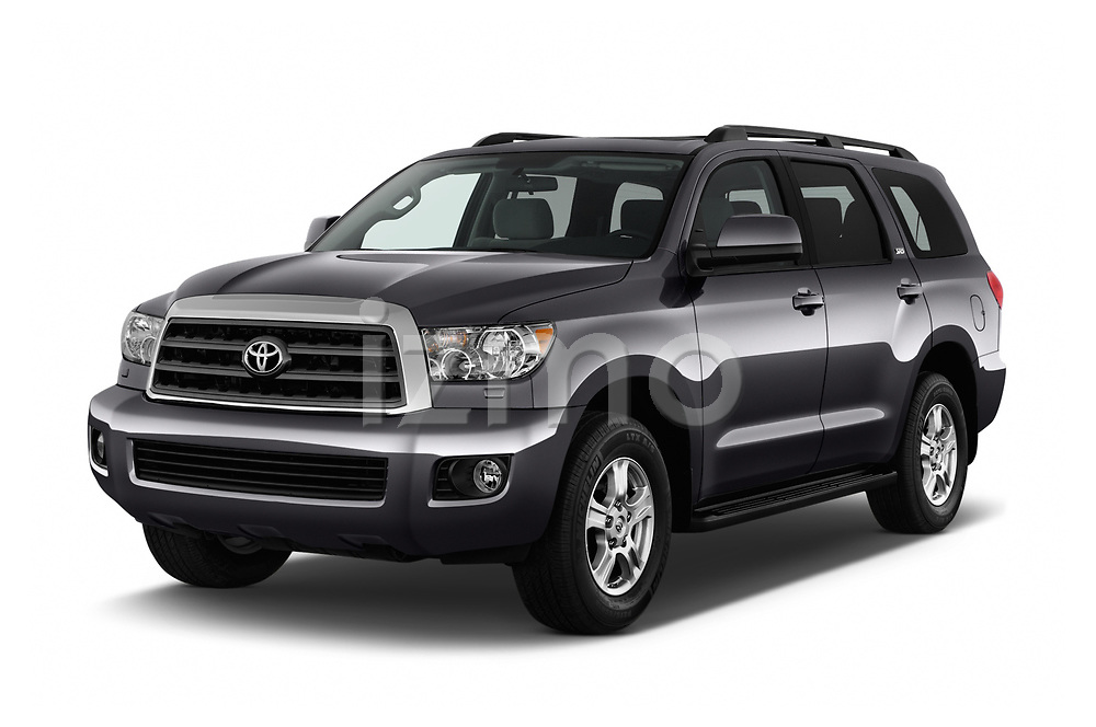 2015 Toyota Sequoia SR5 5 Door SUV angular front stock photos of front three quarter view