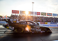 Sep 23, 2016; Madison, IL, USA; NHRA funny car driver Alexis DeJoria during qualifying for the Midwest Nationals at Gateway Motorsports Park. Mandatory Credit: Mark J. Rebilas-USA TODAY Sports
