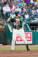 Chad Wallach (47) of the Greensboro Grasshoppers at bat against the Hagerstown Suns at NewBridge Bank Park on June 21, 2014 in Greensboro, North Carolina.  The Grasshoppers defeated the Suns 8-4. (Brian Westerholt/Four Seam Images)