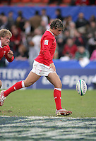Welsh out half Gareth Owen restarts the second half of the 3rd/4th place clash at Ravenhill, Belfast. Result Australia 25 Wales 21.
