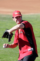 Jeremy Toole of the Salem-Keizer Volcanoes before the final game of the Northwest League championship game against the Tri-City Dust Devils at Volcanoes Stadium, Keizer, Oregon - 9/10/2009. The Volcanoes won the deciding game, 2-1, in 13 innings to win the series, 3 games to 1..Photo by:  Bill Mitchell/Four Seam Images..