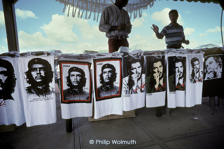 Che Guevara T shirts on sale to tourists at a roadside stall in Pinar del Rio province.