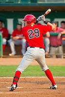 Michael Snyder (29) of the Orem Owlz at bat against the Ogden Raptors at Lindquist Field on July 29, 2012 in Ogden, Utah.  The Owlz defeated the Raptors 6-4.   (Brian Westerholt/Four Seam Images)