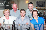 -------------------------.5636-5639.---------.Looking 29.----------.Thomas Egan, Ballyheigue(seated centre)celebrated his 30th birthday with family in Cassiday's restaurant,Tralee last Friday night also seated is his mom Angela and sister Lisa(back)seamus Egan and Brian O'Connell.